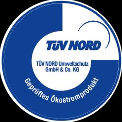 Logo TÜV Nord geprüftes Ökostromprodukt